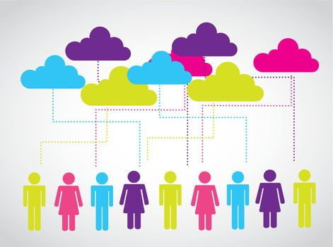 business people with  clouds in your head over white background