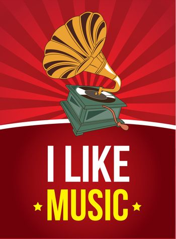 I like music background with a gramophone vector illustration