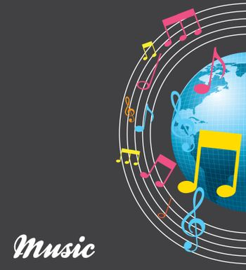 World and music over gray background vector illustration