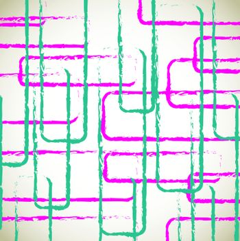 Blue and pink lines and squares over white background vector illustration