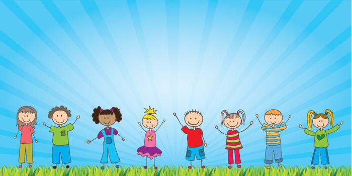 happy childrens over natural background vector illustration