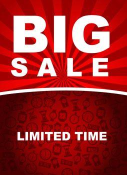 Big sale over red background vector illustration