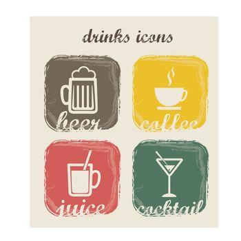 Drinks icons over vintage background vector illustration