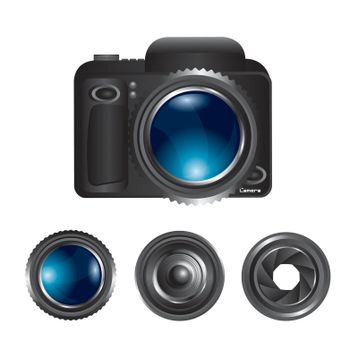 Camera and lens over white background vector illustration