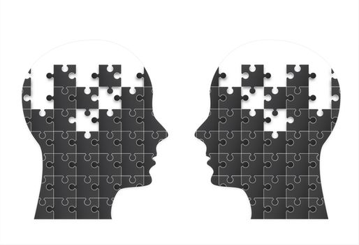 Two people face with puzzle in signal of think vector illustration