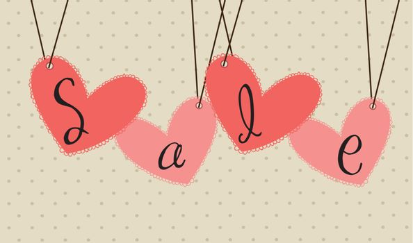 offer of love with some hanging hearts vector illustration