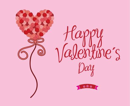 Happy valentines day over pink background vector illustration