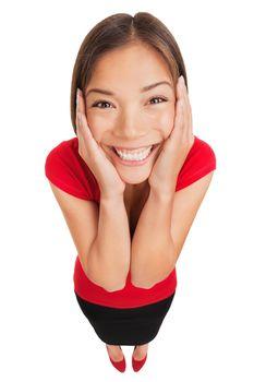 Happy woman overcome with joy