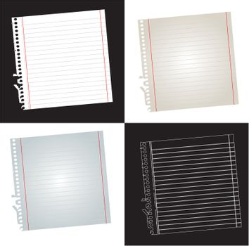 White Paper over white and black background vector illustration