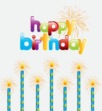 Happy Birthday card over white background vector illustration