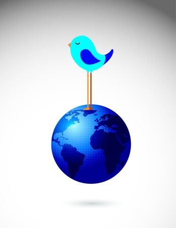 Bird on the world in signal of communication vector illustration