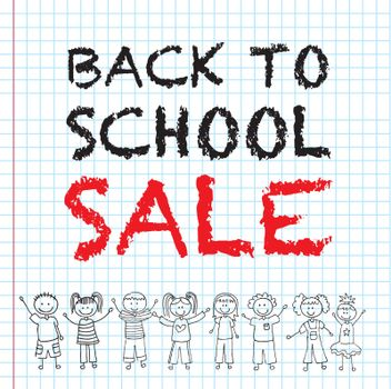 Back to school sale with children over notebook background
