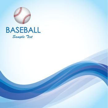 Ball of baseball over blue wave over blue background vector illustration