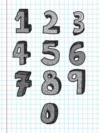 Numbers from 0 to 9 over paper background vector illustration