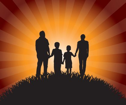 Silhouettes of family over late afternoon background vector illustration