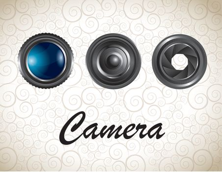 Lens of camera over vintage background vector illustration