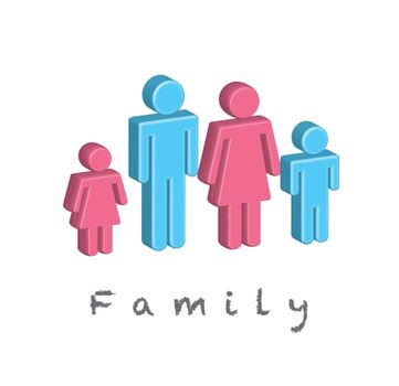 blue and pink people in signal of Family  over white background