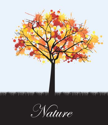 Tree and grass background in signal of nature