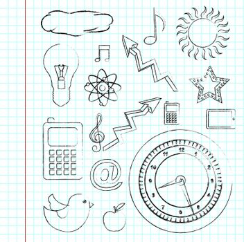 different icons over paper background vector illustration