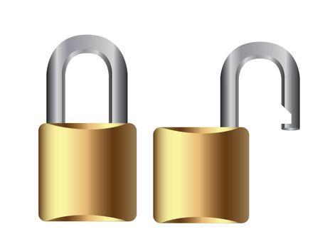 open and closed padlock over white background