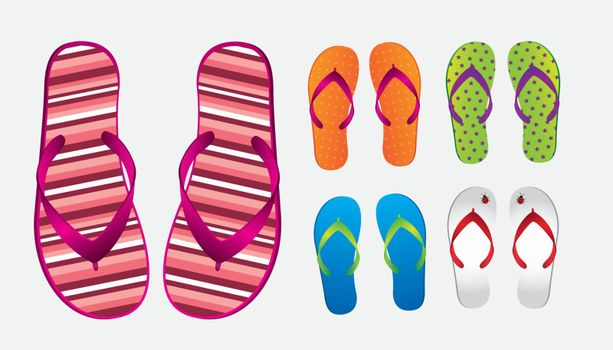 different styles and colors of flip flops over white background