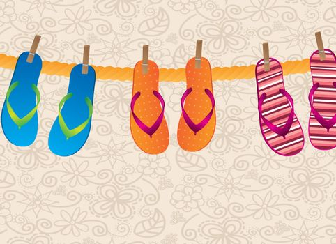 flip flops hanging over vintage background vector illustration