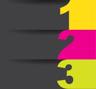Yellow and pink numbers over gray background vector illustration