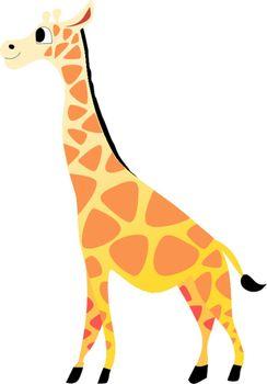 Funny character little giraffe in cartoon style