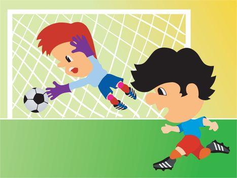 Children in sport uniform play football on field
