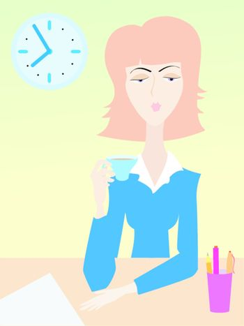 Woman in suit drinks coffee in office        Morning coffee on working place