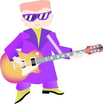 Stylish and fat man plays rock music