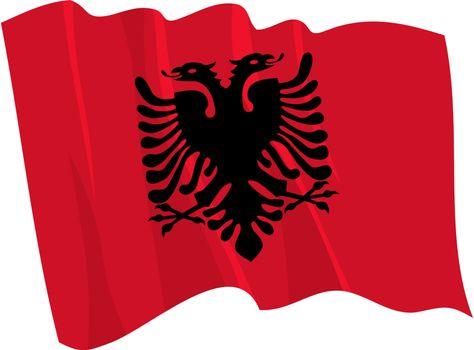 Political waving flag of Albania