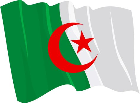 Political waving flag of Algeria