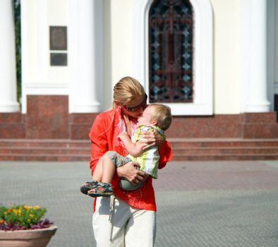 Mom and baby for a walk