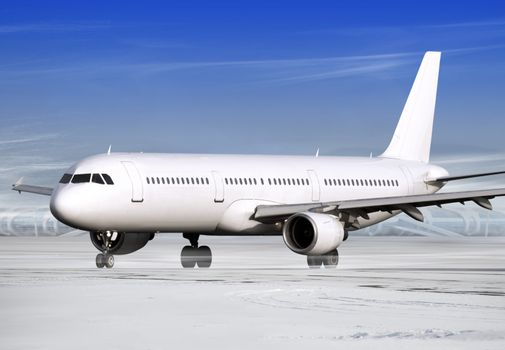 airport and white plane at winter weather
