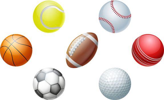 Illustrations of sports ball icons, including cricket ball, football and soccer ball, baseball ball and tennis ball, golf ball and basket ball.