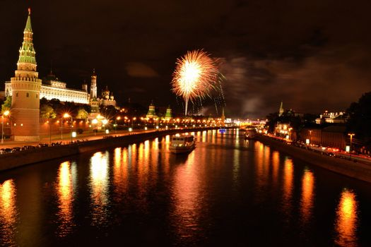 Firework over the Moscow river