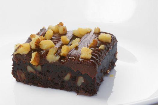 Chocolate fudge brownie with walnuts.