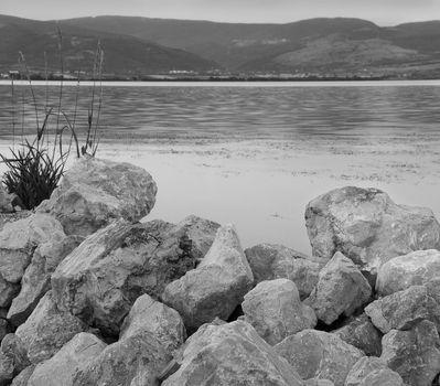 Stones on riverbank