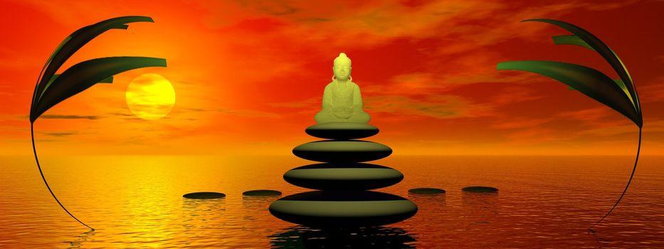 buddha and plants and steps