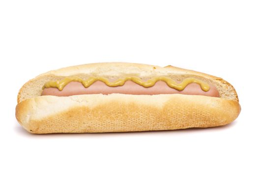 An old-fashioned hot dog with mustard