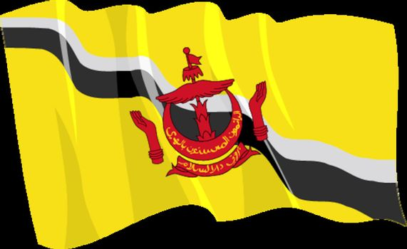 Political waving flag of Brunei