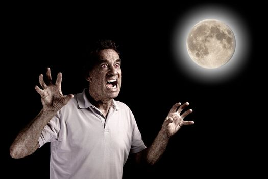 Scary Man Turning into Werewolf Fang Beast under Full Moon