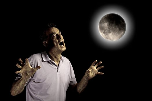 Scary Man Turning into Werewolf or Beast Under a Cloudy Full Moon