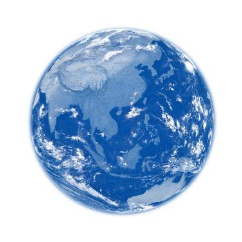 Southeast Asia on blue Earth