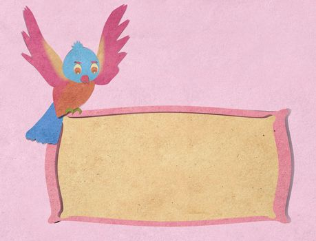 bird recycled paper craft background