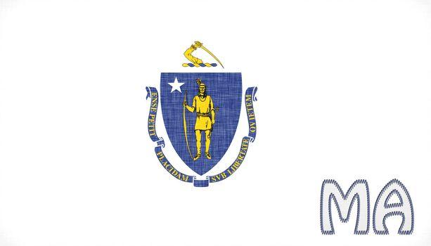 Linen flag of the US state of Massachusetts