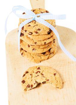 bitten cookie with stacked cookies