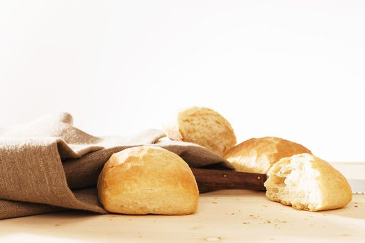 wheat buns with linen fabric