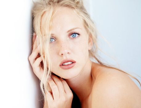 Sensual portrait of beautiful young blond woman